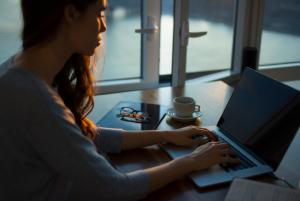 introvert worker on laptop